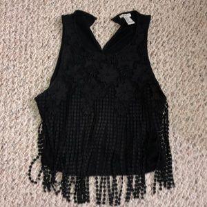 Black sleeveless crop top